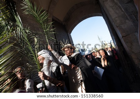 JERUSALEM - MARCH 24: Palestinian and international Christian pilgrims enter the Lions' Gate of the Old City of Jerusalem in the annual Palm Sunday procession, March 24, 2013.  - stock photo