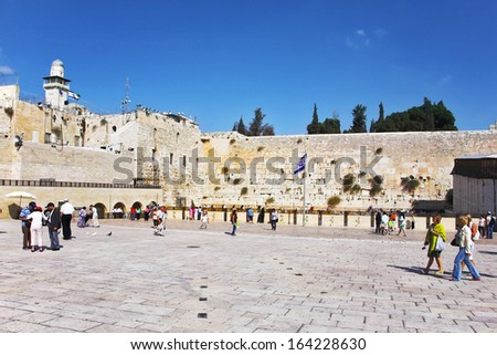 Jerusalem - March 31: The western wall of the Jerusalem temple and the area in front of her in the March 31, 2012 in Jerusalem, lit by the sun
