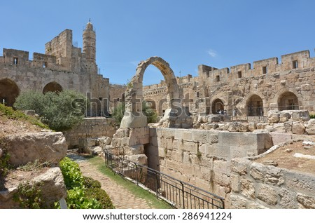 jERUSALEM - MAY 05 2015:Aerial view of the Tower of David and archeological garden in Jerusalem, Israel.It's a famous landmark of Jerusalem with historical and archaeological significant. - stock photo