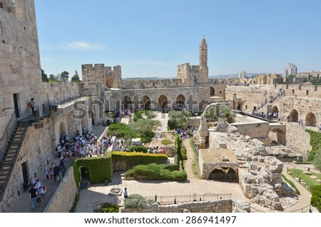 JERUSALEM - MAY 05 2015:Aerial view of the Tower of David and archeological garden in Jerusalem, Israel.It's a famous landmark of Jerusalem with historical and archaeological significant.