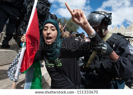 JERUSALEM - MAY 15: Israeli police clashed with Palestinians commemorating Nakba Day at Damascus Gate, East Jerusalem, May 15, 2013.  - stock photo