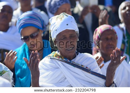 JERUSALEM - NOV 20, 2014: Ethiopian Jewish women pray at the Sigd, in Jerusalem, Israel. The Sigd is an annual holiday of the Ethiopian Jews - stock photo