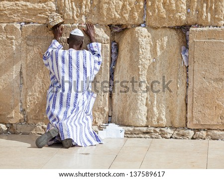 JERUSALEM - NOVEMBER 6 :Jewish man prays at the Western Wall. The Western Wall a.k.a. the Wailing Wall is an important Jewish religious site in Jerusalem, Israel, November 6, 2012