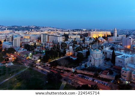 Jerusalem Old City and Mount of Olives at Night, Israel - stock photo