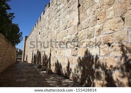 Jerusalem old city, site near Zion Gate - stock photo