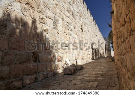 Jerusalem old city wall at Zion Gate - stock photo