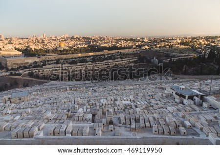 Jerusalem old town, world's largest cemetery in forefront