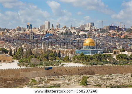 Jerusalem - Outlook from Mount of Olives to old city