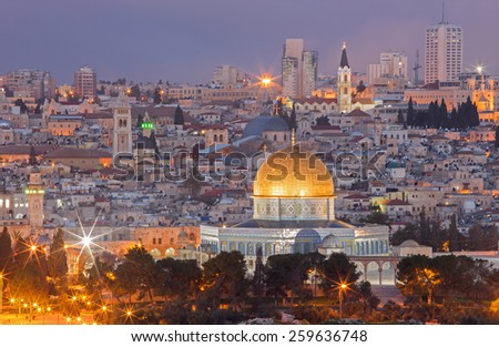Jerusalem - Outlook from Mount of Olives to old city at dusk - stock photo