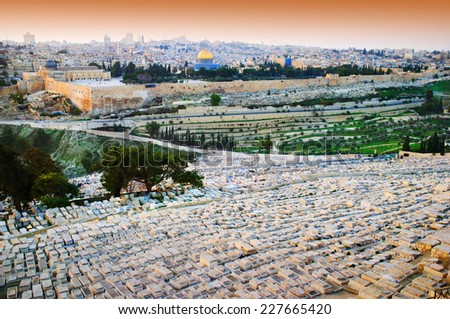 Jerusalem overview from mountain of Olives, Israel - stock photo