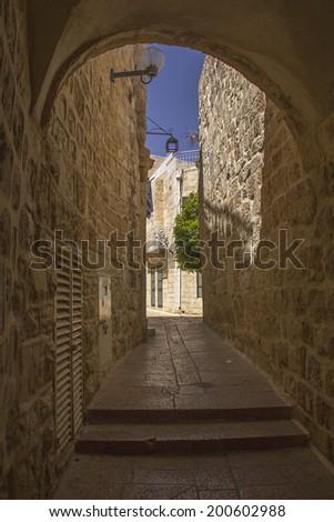 Jerusalem's  Narrow Street,Jewish quarter of Old Town  - stock photo