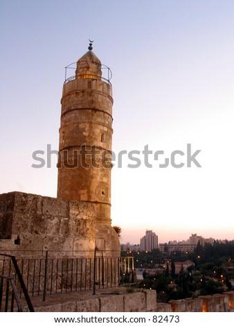 jerusalem temple mount david tower - stock photo
