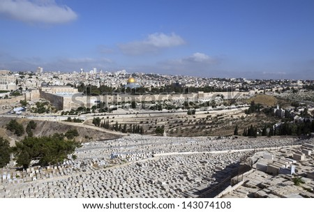 Jerusalem - view from Mount of Olives - stock photo