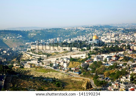 Jerusalem, view of the old city. - stock photo