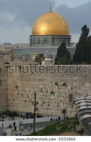 Jerusalem wailing wall and temple mount - stock photo