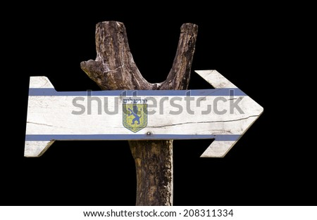 Jerusalem wooden sign isolated on black background - stock photo