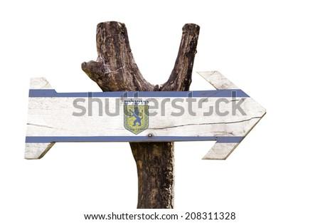 Jerusalem wooden sign isolated on white background - stock photo