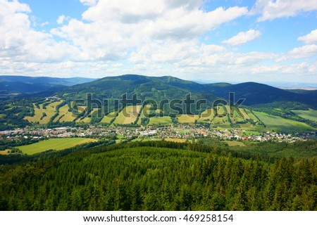 jeseniky mountains landscape from watchtower named zlaty chlum