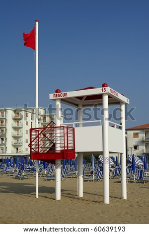 Jesolo (Ve), Italy, a turret for lifeguards on the beach
