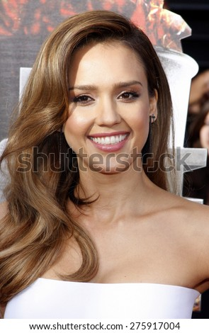 Jessica Alba at the 2014 MTV Movie Awards held at the Nokia Theatre L.A. Live in Los Angeles on April 13, 2014 in Los Angeles, California.  - stock photo