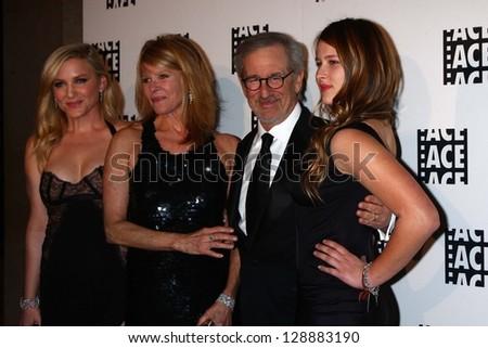 Jessica Capshaw, Kate Capshaw, Steven Spielberg, Sasha Spielberg at the ACE Eddie Awards 2013, Beverly Hilton, Beverly Hills, CA 02-16-13 - stock photo