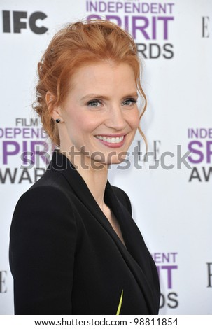 Jessica Chastain at the 2012 Film Independent Spirit Awards on the beach in Santa Monica, CA. February 25, 2012  Santa Monica, CA Picture: Paul Smith / Featureflash