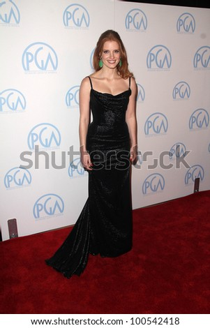Jessica Chastain at the 23rd Annual Producers Guild Awards, Beverly Hilton, Beverly Hills, CA 01-21-12