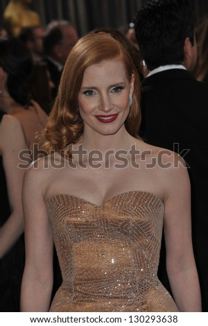 Jessica Chastain at the 85th Academy Awards at the Dolby Theatre, Hollywood. February 24, 2013  Los Angeles, CA Picture: Paul Smith