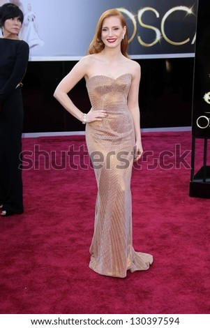 Jessica Chastain at the 85th Annual Academy Awards Arrivals, Dolby Theater, Hollywood, CA 02-24-13 - stock photo