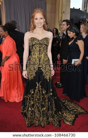 Jessica Chastain at the 84th Annual Academy Awards at the Hollywood & Highland Theatre, Hollywood. February 26, 2012  Los Angeles, CA Picture: Paul Smith / Featureflash - stock photo