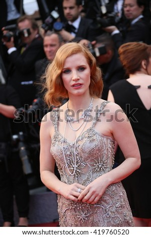 Jessica Chastain   attends the 'Money Monster' Premiere during the 69th annual Cannes Film Festival on May 12, 2016 in Cannes, France. - stock photo