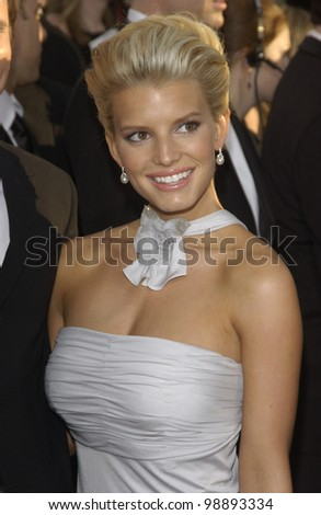 JESSICA SIMPSON at the 61st Annual Golden Globe Awards at the Beverly Hilton Hotel, Beverly Hills, CA. January 25, 2004 - stock photo
