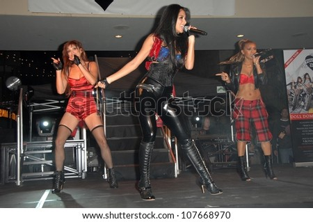 Jessica Sutta with Nicole Scherzinger and Melody Thornton  at an concert to promote the new Pussycat Doll's album 'Doll Domination'. Hollywood and Highland Courtyard, Hollywood, CA. 09-23-08 - stock photo