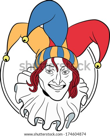 Jester face in a circle - stock photo