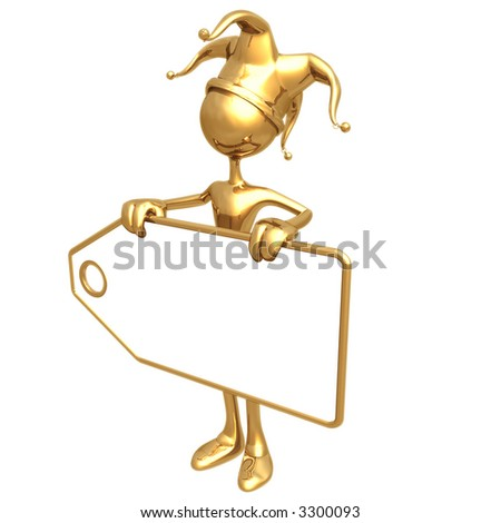 Jester Holding Blank Price Tag - stock photo