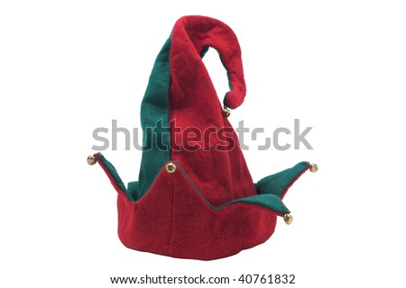 Jester style christmas hat. Isolated on white - stock photo
