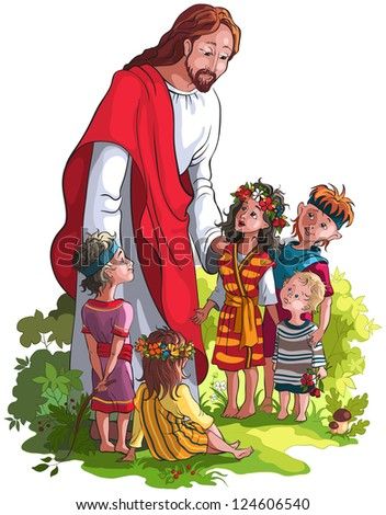 Jesus and children. Raster illustration. Also available vector and outlined (coloring book) version