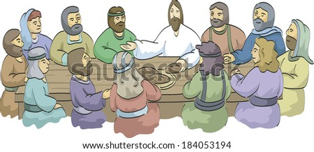 Jesus and his disciples at the last supper - stock photo