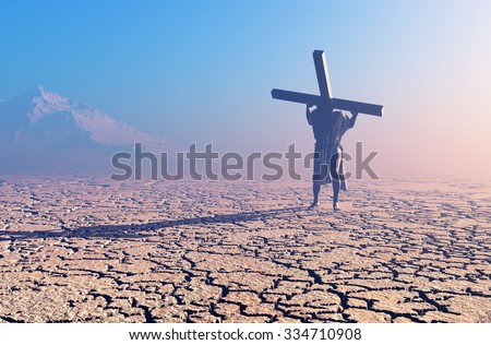 Jesus carries the cross in the desert - stock photo