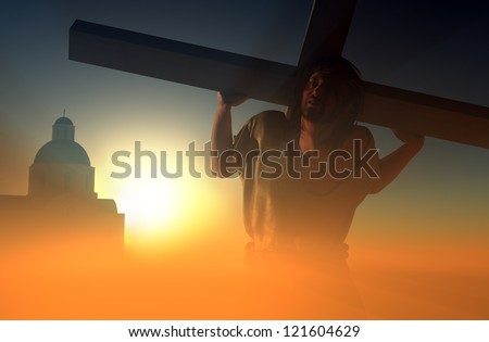 Jesus carries the cross in the sunlight.