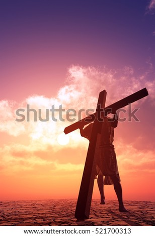 Jesus carries the crosson on background sky.,3d render