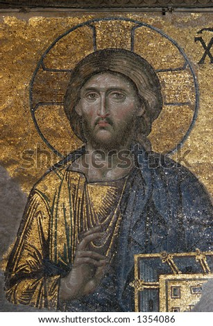 Jesus Christ, a Byzantine mosaic in the interior of Hagia Sophia in Istanbul, Turkey.