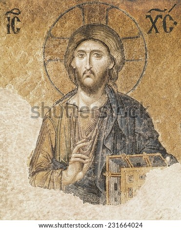Jesus Christ Blessing, 11th c. TURKEY, Istanbul, Hagia Sophia (Basilica of St, Sophia), Work located at the southern side of the higher gallery