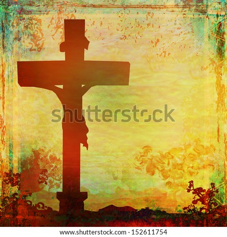 Jesus Christ crucified , grunge background - stock photo