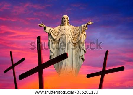 Jesus Christ Easter background resurrection  - stock photo