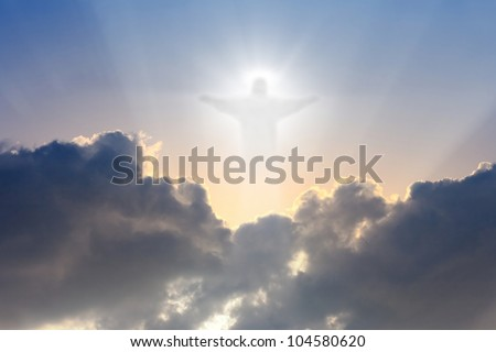 Jesus Christ in blue sky with dark clouds - heaven