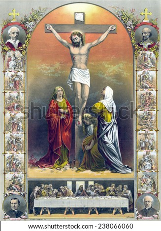 Jesus Christ, lithograph depicting the crucifixion (center), the stations of the cross, and the last supper, Cardinal James Gibbons, Cardinal Elzear-Alexandre Taschereau, ca 1887. - stock photo
