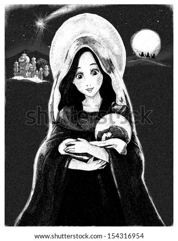 Jesus Christ, Mary - illustration for the children - stock photo