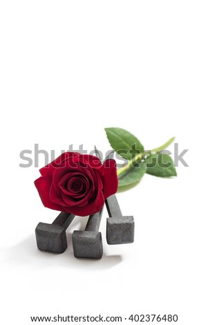 Jesus Christ nails from the Crucifixion and red rose on a white background. - stock photo