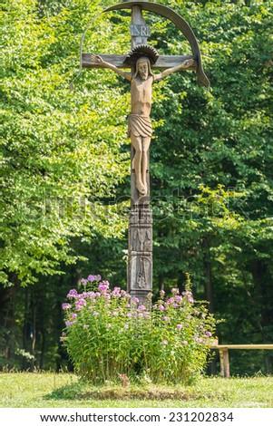 Jesus Christ On Christian Wooden Cross - stock photo